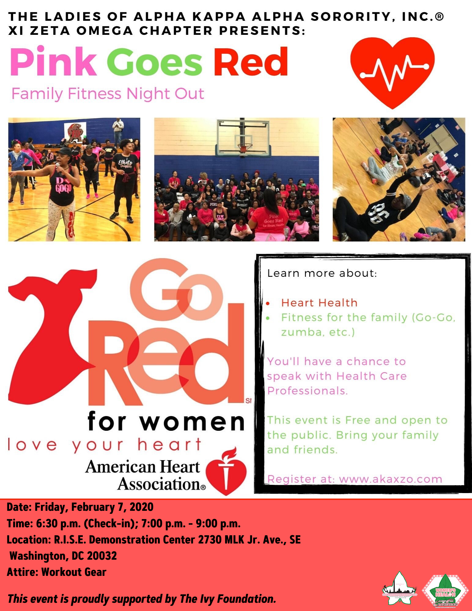 Come and join us for a heart health talk Q&A, fitness demonstrations, and healthy refreshments. All ages are invited to come ready to work-out in athletic gear and start the year off right with a FREE evening of heart health attention!